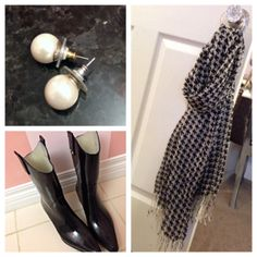 What Would Megan Wear: Happy Rainy Day!! -- Pearl earrings, houndstooth scarf, and cowboy rain boots! Gotta love accessories!