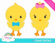 Chicks clip art Easter clipart cute chicks by MagicPixelsStudio