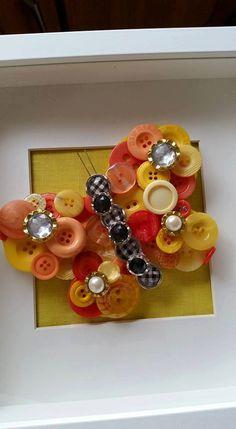 Butterfly Button Art 3D on Irish Linen by CraftallyNI on Etsy