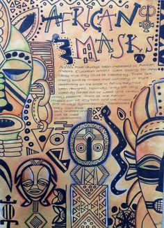 African masks research page - lots of drawing and research, packed busy pages