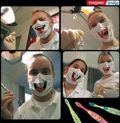 Il dottor Tylenol, dentista dei bambini, ha sfruttato nel suo studio l'azione di guerrilla realizzata per colgate. Queste mascherine su cui sono stampate delle boccacce divertenti, utilizzate dal dottore durante le visite, rendono le cure dentistiche meno tragiche per i bimbi, a tutto vantaggio del dentista, di Colgate e anche dei piccoli pazienti.
