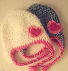 Valentine's+Day+inspired+Crochet+Hat+with+Heart+by+Stitchingfrog,+$17.50