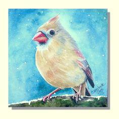 "Original  Watercolor Cardinal Bird Art Painting ""Snow in Spring"""