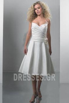 32d645e7c52b Λουλούδι Οι πτυχωμένες μπούστο Μίνι Τιράντες σπαγγέτι Νυφικά Tea Length  Wedding Dress
