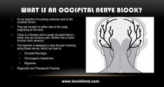 An occipital nerve block is an injection of a steroid or other medication around the greater and lesser occipital nerves that are located on the back of the More: http://www.kevinlimd.com/treatment/interventional-procedures/occipital-nerve-block/
