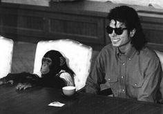 Michael with his pet Chimpanzee, Bubbles