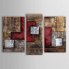 pinturas a óleo conjunto de três vermelhos abstratos modernos marrons telas pintadas à mão pronto para pendurar