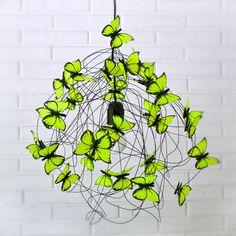 "Lamp with neon yellow butterflies ""Little glint"""