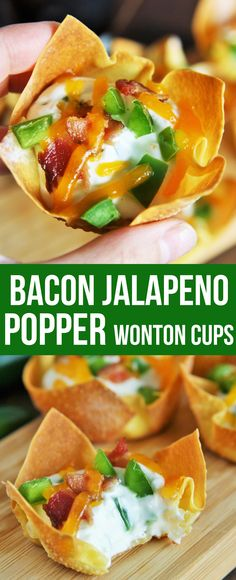 These crispy Bacon Jalapeno Popper Wonton Cups wit…