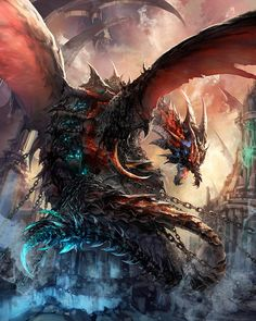 """Dragon-Mythical Being-Scales-Winged Reptile. Find more on the """"Creativity+Fantasy"""" board. Mythical Creatures Art, Mythological Creatures, Magical Creatures, Fantasy Creatures, Flaming Dragon, Dragon Rey, Monster E, Fantasy Monster, Guerrero Dragon"""