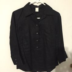 J Crew linen 3/4 button down shirt Black linen, the shirt buttons 3/4 of the way down. Can be worn like a tunic or tucked in for a more polished look! J. Crew Tops Button Down Shirts