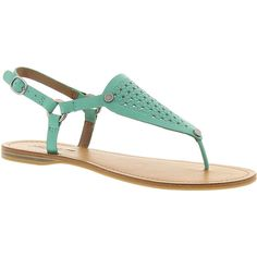 Lucky Brand Abell ($35) ❤ liked on Polyvore featuring shoes, sandals, teal, strap sandals, t-strap flats, lucky brand flats, teal shoes and strappy sandals