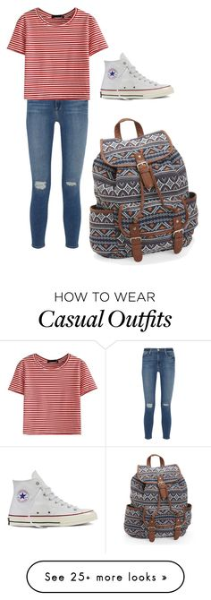 """""""Casual"""" by dancingwithr5sos on Polyvore featuring Frame Denim, WithChic, Converse and Aéropostale"""