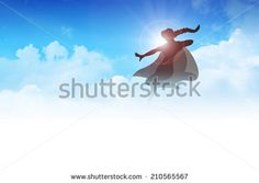 Silhouette of a female figure with superhero suit flying on clouds, superheroine - stock photo