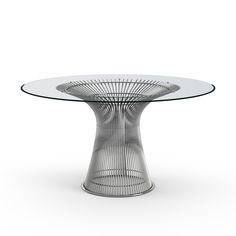The Knoll Platner Dining Table is a round table with metal leg frame. It's from a series of tables and chairs by Warren Platner and comes with a selection of nickel. Buy from Utility Design today. Dining Table Sale, Glass Round Dining Table, Modern Dining Table, Dining Table In Kitchen, Dining Tables, Table Bases, Round Glass, Warren Platner, Circular Table