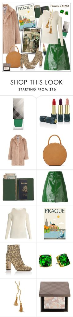 """Prague Travel Outfits"" by fashionlibra84 ❤ liked on Polyvore featuring Burberry, Oribe, Whistles, Mansur Gavriel, Royce Leather, Courrèges, Velvet by Graham & Spencer, Dolce&Gabbana, Kate Spade and Chloé"