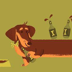 Progress! #dachshund #partyanimal #dog #illustration