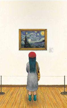 """Starry Night"" - from Jimmy Liao. Ghibli, Van Gogh, Children's Book Illustration, Love Art, Drawing S, Illustrations Posters, Art Museum, Art For Kids, Devian Art"