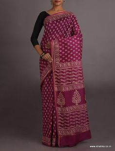 Kalpana Majestic Magenta Exclusive #Bagh #HandPrintSaree