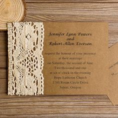 Lace wedding invitations offer a classic, romantic look. Shop a beautiful selection of styles featuring lace at elegantweddinginvites.com.    Card Type: Flat Card   Invitation Card Dimensions: 5.90 x 5.90 in (w x h)  ...