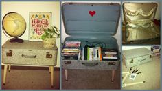 Remade: Last summer's project: DVD/Game storage. Flea Market Suitcase, paint, and table legs