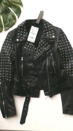 Zara black studded  leather biker jacket size XS / S | eBay