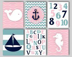 Baby Girl Nursery Art Nautical Nursery Print for Girls Nautical Nursery Bedding Decor Sailboat Print Anchor Print Seahorse Art Choose Colors on Etsy, $60.00