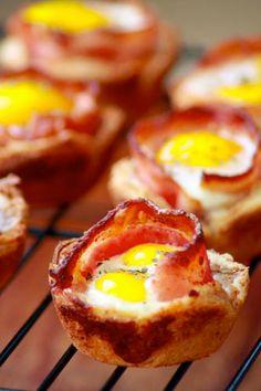 Bacon, Egg toast cups