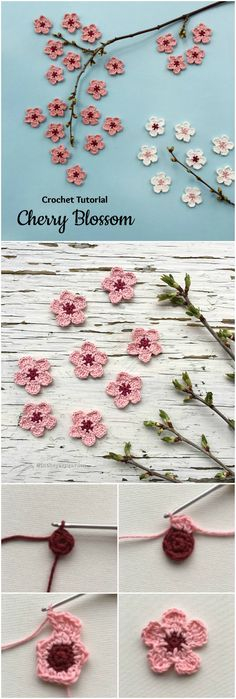 Crochet Cherry Blossom It's Spring and around us Everything is becoming alive. On of the most beautiful creations at spring are Cherry blossoms. If you want to decorate your house or clothes with beautiful Cherry Blossoms and you love crochet we have perfect Free pattern for you. Look at ...