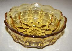 "Amber Cut Glass Bowl 6' x 2.5"" NICE picclick.com"