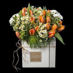 Bouquet de tulipanes presentados en una cómoda y elegante caja de cartón. https://www.mardeflores.com/es/producto/breda Envio de flores Madrid Envio de Flores Peninsula
