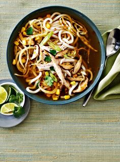 Asian-Style Turkey and Cabbage Noodle Soup—Bold Asian flavours and thick, chewy udon noodles turn each bowl of this quick turkey soup into a meal that's as exciting as it is comforting. For a spicy kick, add a few dashes of sriracha.