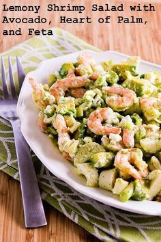 Lemony Shrimp Salad with Avocado, Heart of Palm, and Feta; amazingly delicious but healthy salad!  [from Kalyn's Kitchen]