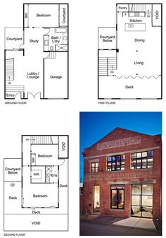 New York-Style Warehouse Conversion - 3 bedrooms, open living area, 1 car garage, lounge area, courtyard, and large deck.