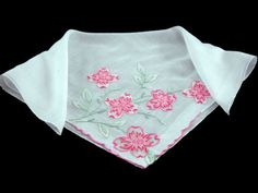 Madeira Linen Bridal Hankie with Embroidered Flowers Vintage