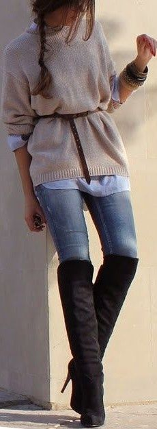Knee high black suede high heel boots over skinny jeans. Always the best. The sweater is ok.