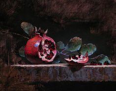Still life painting pomegranate - by Jeff Legg