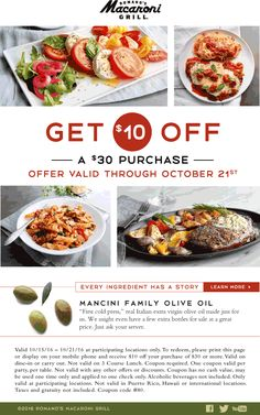Pinned October 15th: $10 off $30 at #MacaroniGrill restaurants #TheCouponsApp