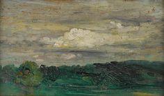 Arthur Bowen Davies (American, 1862-1928) Landscape Study 7 1/4 x 11 1/4in (18.4 x 28.6cm)