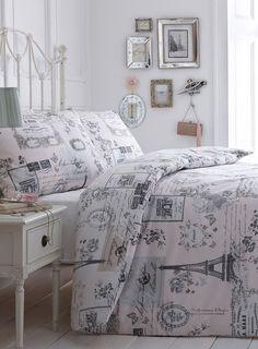 paris themed comforters | Sketchy Paris Bedding Set