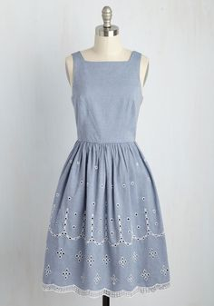 Seine It All Before Dress. As the river cruise carries you through Paris, the sun smiles down on your sweet chambray dress! #blue #modcloth