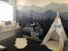 Our Baby Boys Room is all set! An ombré blue woodland themed nursery. Our Baby Boys Room is all set! Woodland Theme Bedroom, Woodland Nursery Boy, Nursery Decor Boy, Nursery Themes, Nursery Murals, Nursery Ideas, Baby Boy Rooms, Baby Boy Nurseries, Baby Boys
