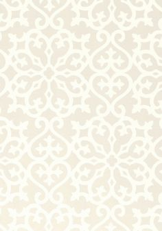 Allison Wallpaper A printed wallpaper with a graceful geometric design in linen and white.