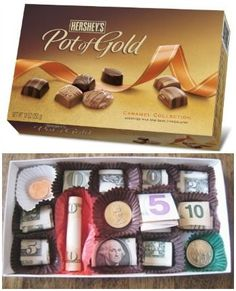 Creative ways to give cash as a gift!money (multiple ideas listed, one is in a chocolate box!)
