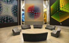 One cell inside the modular Vasarely Fondation, built in 1973 in Aix en Provence, France, here showing a few of the 42 large scale panels of Vasarely works.