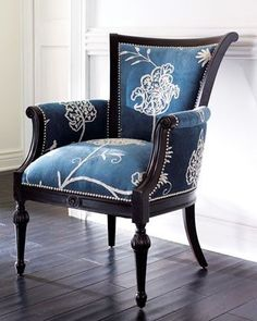 Classic blue and white is taken to a new level when combined with beautiful crewel needlework and a striking dark wood frame. #ChairClassic