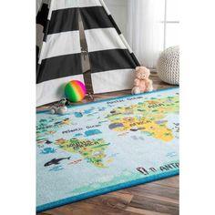 Rugs USA Baby Blue Playroom Animal World rug - Kids Rectangle x Kids Area Rugs, Kids Play Area, Blue Area Rugs, World Map Rug, Kids World Map, Blue Playroom, Playroom Ideas, Carpet World, Childrens Rugs