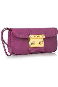 Miu Miu leather wristlet #clutch #bags