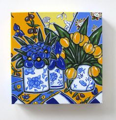 French Country Wall Decor, Blue Still life Painting, Original Acrylic on Canvas, Pansies and Yellow tulips