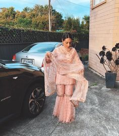 The Blush Kiran Gharara Set - Express (Size S)– WaliaJones Indian Fashion Dresses, Pakistani Dresses Casual, Dress Indian Style, Pakistani Dress Design, Indian Designer Outfits, Desi Wedding Dresses, Indian Wedding Outfits, Indian Outfits, Gharara Designs